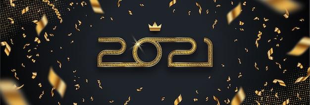 Cartão com logotipo dourado de ano novo e confetes em fundo preto.