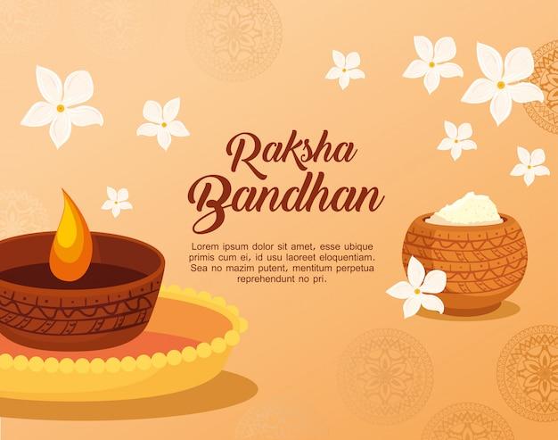 Cartão com luz de vela decorativa e pó sagrado para raksha bandhan, festival indiano para celebração de ligação de irmão e irmã