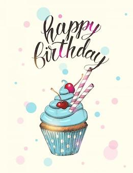 Cartão com mão desenhada cupcake azul com cerejas e letras feitas à mão. mão escrita escova na moda citação 'feliz aniversário