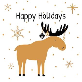 Cartão com mão desenhada natal elk.