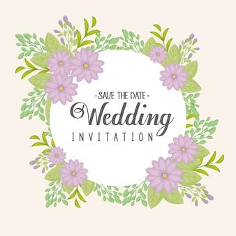 Cartão com moldura circular de flores cor roxa, convite de casamento com flores roxas