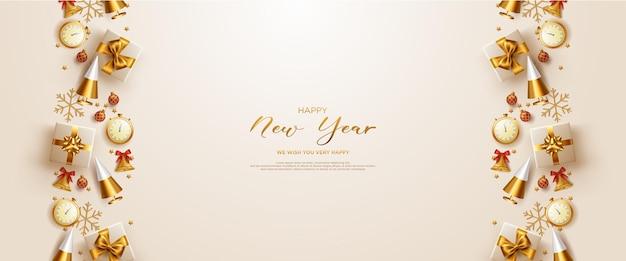 Cartão com moldura de ano novo com decoração realista de ano novo