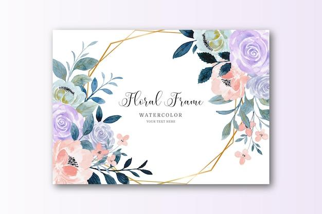 Cartão com moldura de flor rosa roxa em aquarela