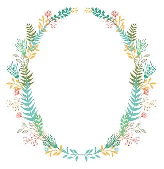 Cartão com moldura de flores e samambaias