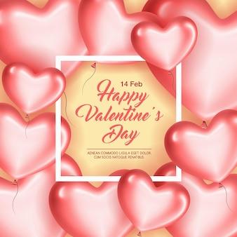 Cartão com moldura e corações rosa no dia dos namorados