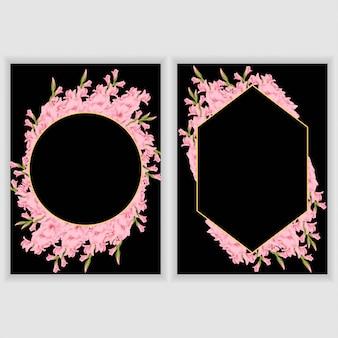 Cartão com moldura floral gladíolo