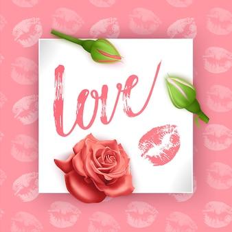 Cartão com o amor de inscrição no dia dos namorados. cartão de letras de mão com botões de rosa, ilustração