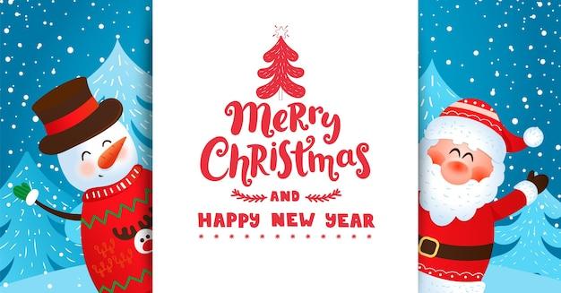 Cartão com o pai natal e o boneco de neve a desejar feliz natal