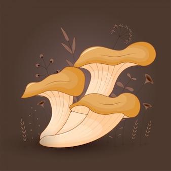 Cartão com ostra de cogumelos em um fundo floral