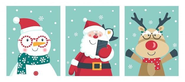 Cartão com papai noel, pinguim, veado e boneco de neve ganhar óculos.