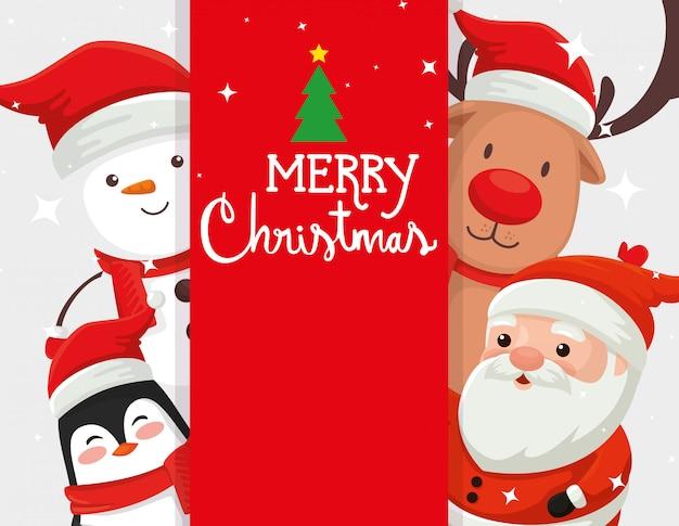 Cartão com personagens de natal e decoração