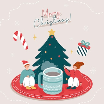 Cartão com pessoas bebendo chá com elementos de natal