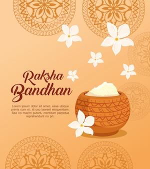 Cartão com pó sagrado decorativo para raksha bandhan, festival indiano para irmão e irmã projeto de ilustração vetorial celebração de ligação