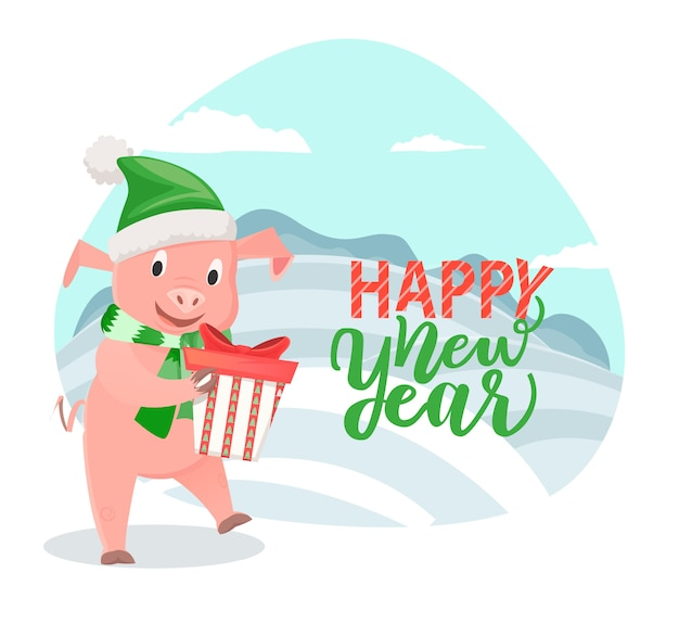 Cartão com porco desejando feliz ano novo