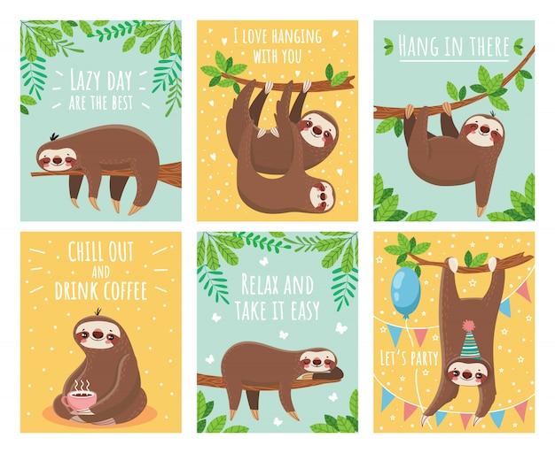 Cartão com preguiça preguiçosa
