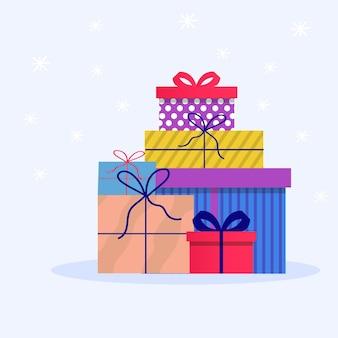 Cartão com presentes decorados, presentes