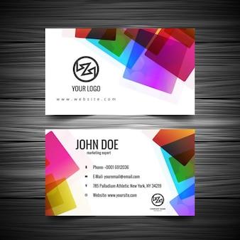Cartão com quadrados coloridos