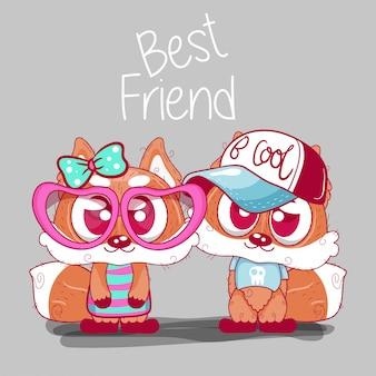 Cartão com raposas bonitos dos desenhos animados