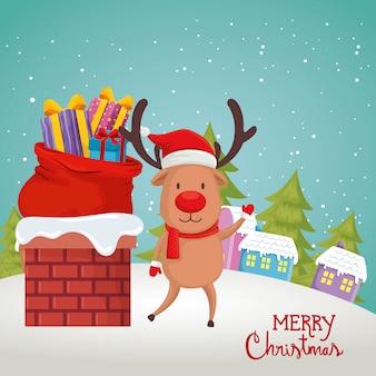 Cartão com renas na cena natal