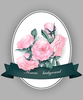 Cartão com rosas florescendo ilustração em vetor cartão de aniversário