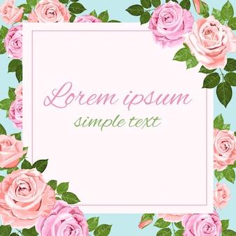 Cartão com rosas rosa e bege em azul claro