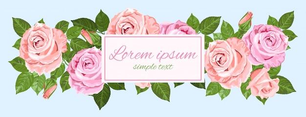 Cartão com rosas rosa e bege em azul