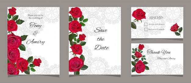 Cartão, com, rosas vermelhas