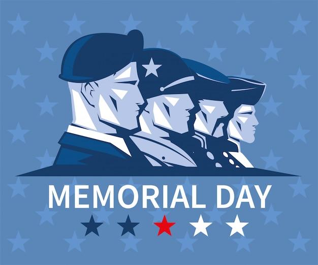 Cartão com rostos de soldados americanos, memorial day