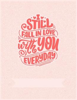 Cartão com slogan sobre o amor em belo estilo.