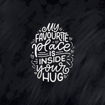 Cartão com slogan sobre o amor na composição de letras abstratas de vetor de estilo de caligrafia