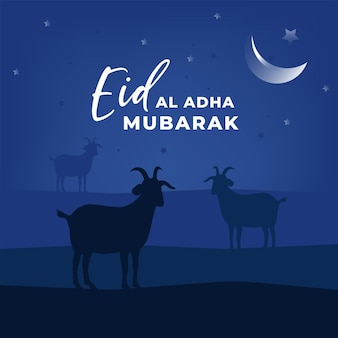 Cartão com tema azul eid al adha mubarak