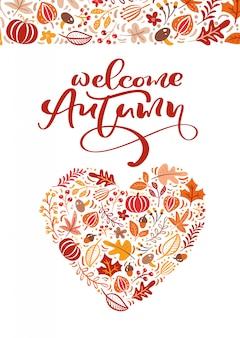 Cartão com texto bem-vindo outono