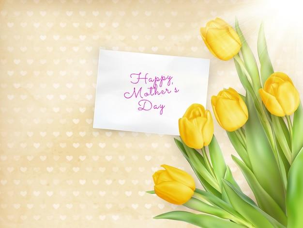 Cartão com tulipas.
