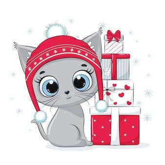 Cartão com um gatinho com caixas de presente