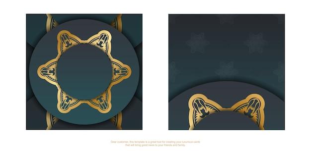 Cartão com um gradiente de cor verde com uma mandala de ornamento de ouro para seu projeto.