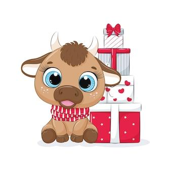 Cartão com um touro com caixas de presente