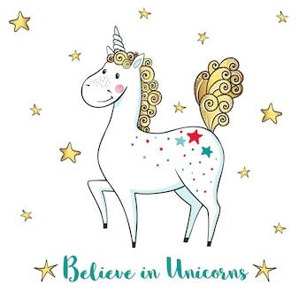 Cartão com unicórnio fofo e estrelas.