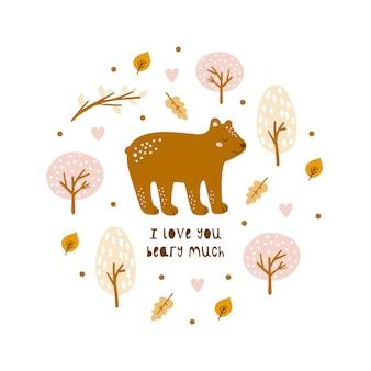 Cartão com urso fofo e elementos desenhados à mão.