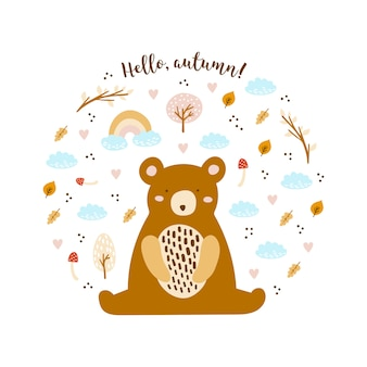 Cartão com urso fofo
