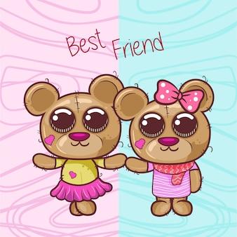 Cartão com urso menino e menina dos desenhos animados - vetor