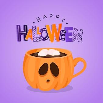 Cartão com xícara de café abóbora e letras. feliz dia das bruxas. ilustração