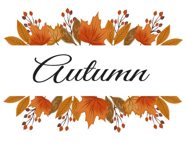 Cartão comemorativo com arranjo de folhas de outono