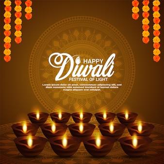 Cartão comemorativo da celebração do festival indiano de diwali feliz