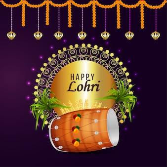 Cartão comemorativo da celebração lohri e plano de fundo