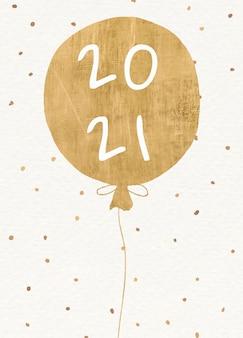 Cartão comemorativo de ano novo de 2021 com balão dourado