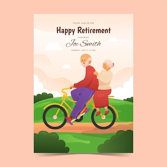 Cartão comemorativo de aposentadoria gradiente