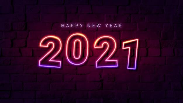 Cartão comemorativo de feliz ano novo de 2021 em néon rosa