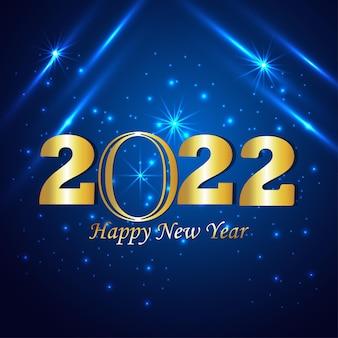Cartão comemorativo de feliz ano novo de 2022 com texto dourado