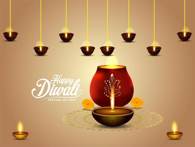 Cartão comemorativo de feliz diwali com luz criativa e diwali diya