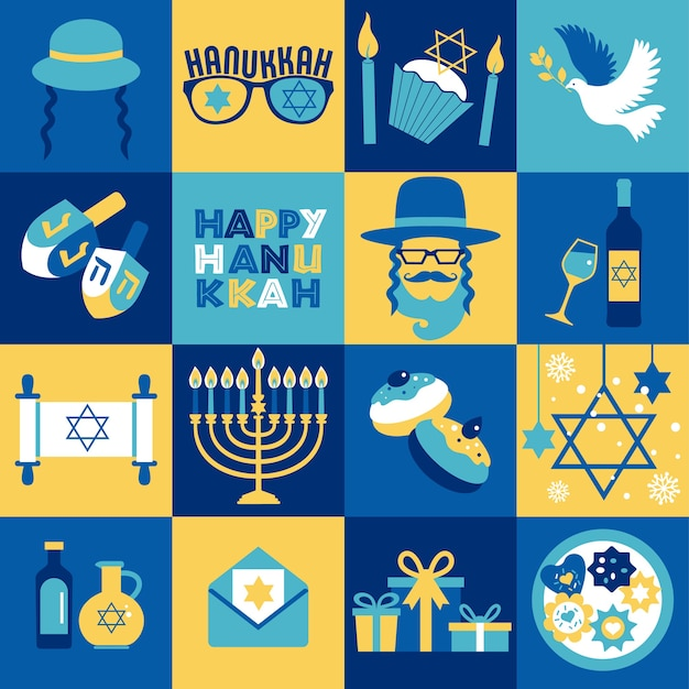 Cartão comemorativo de hanukkah no feriado judaico - símbolos tradicionais de chanucá - velas da menorá, estrela david